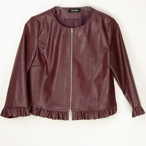 Do+Be Faux Leather Jacket Wine Large